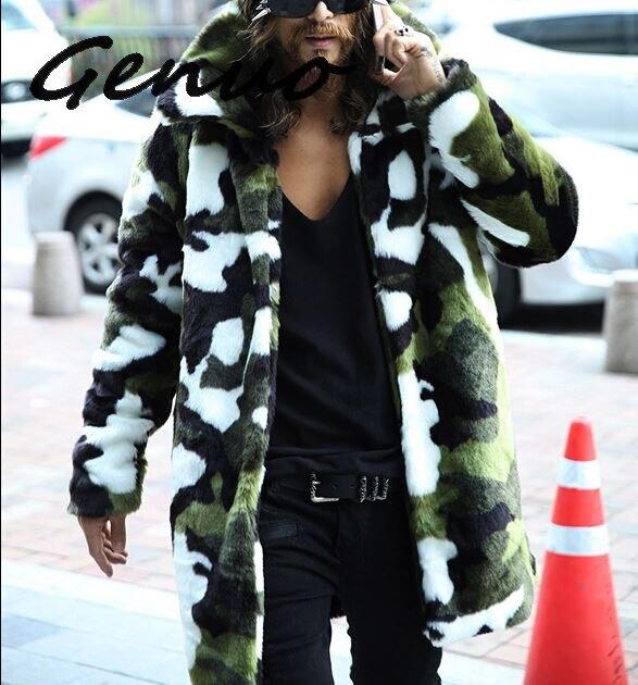 Мужская куртка из искусственного меха, камуфляжная теплая куртка с лацканами и кроличьим мехом, зимняя кожаная ветровка, 2019
