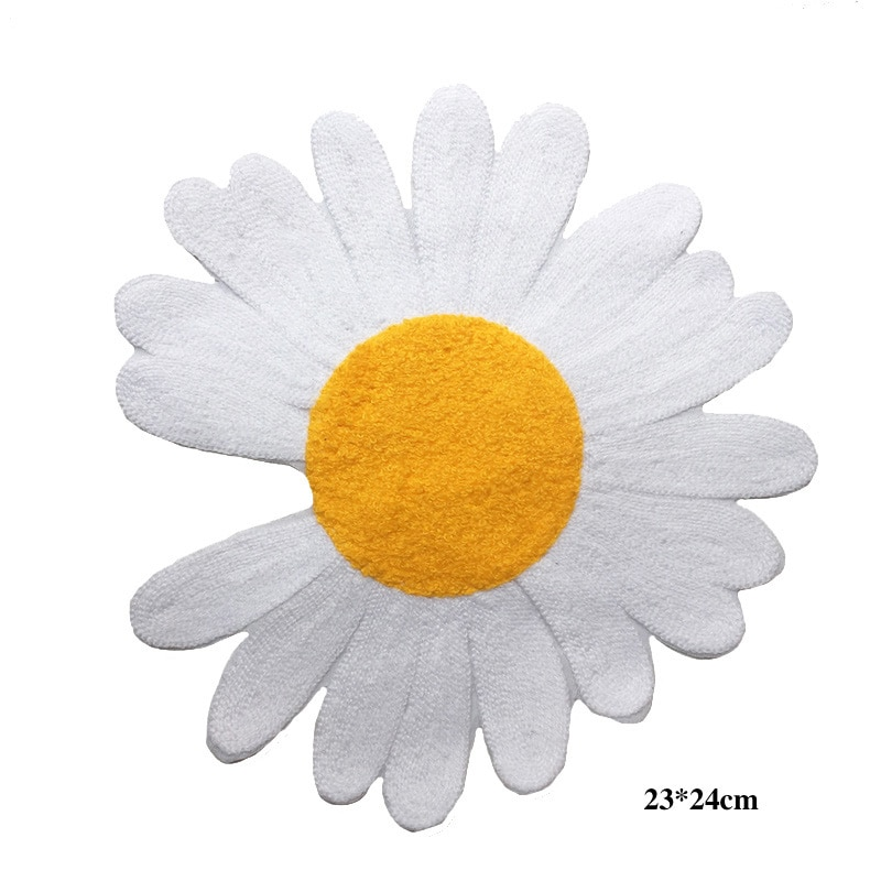 1 Uds. Parches con bordados de flores de margaritas blancas calientes para planchar en la ropa apliques de parche para ropa DIY LSHB1059