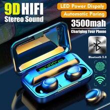 Małe pudełko BTH-F9-5 nowy Bluetooth 5.0TWS pojemnik z funkcją ładowania trzy anty-cyfrowy wyświetlacz dotykowy słuchawki duży pojemnik z funkcją ładowania bezprzewodowy niebieski