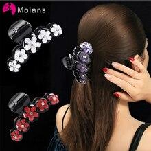 8cm tamaño mediano Floral mujeres Crystal Hair Claw Rhinestone horquillas de pelo accesorios de moda flor pelo garras de plástico