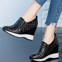 casual shoes women genuine leather wedges high heel ankle boots female round toe fashion sneakers summer platform pumps shoes