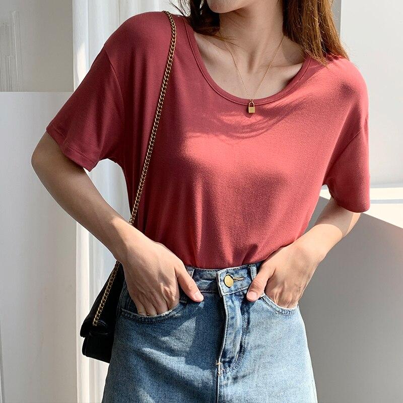 Modal Short-Sleeved Mask T-shirt for Women 2021summer New U Collar Scoop Loose Bottoming Shirt Drape