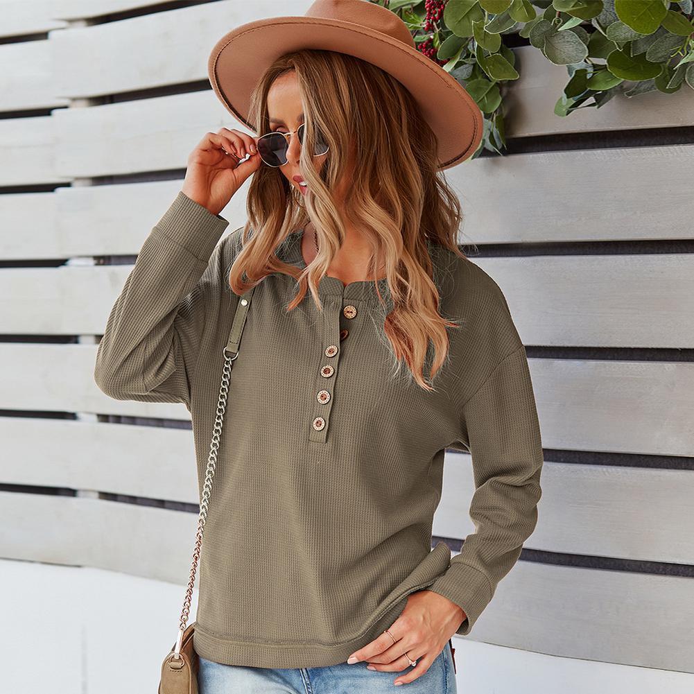Autumn Women's Sweatshirt with Button Front Fashion Walf Checks Side Split Tops Solid Classic Casual Female Pullover schneiders рюкзак walker chap classic petrol checks