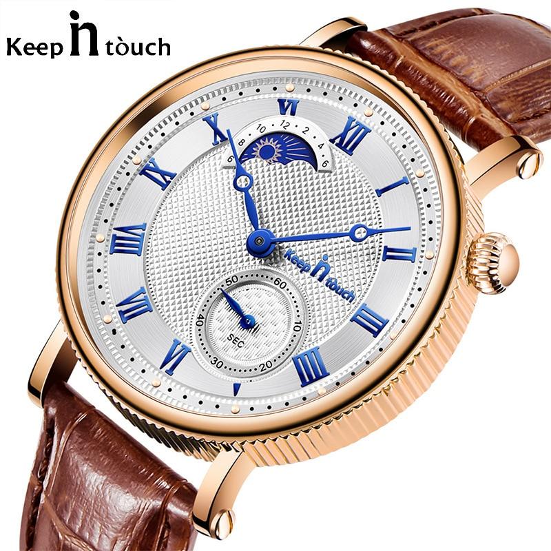 Rose Gold Silver Blue Retro Sky Men's Watch Quartz Wrist Watches Leather Analog Alloy Male Clock Reloj Deportivo Hombre Luxury