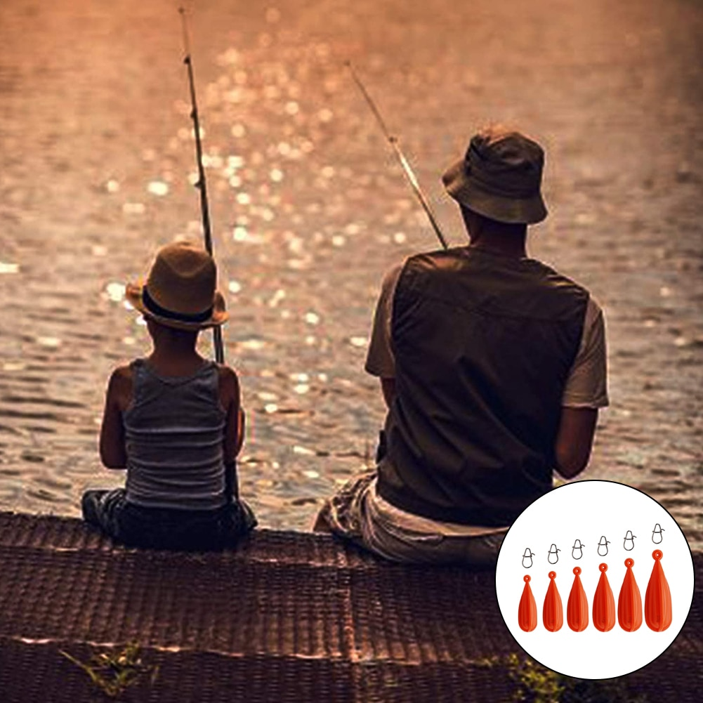6PCS Fishing Weights Casting Plug PVC Kids Fishing Practice Casting Plug Specially Designed for Throwing Action Red 6PCS enlarge