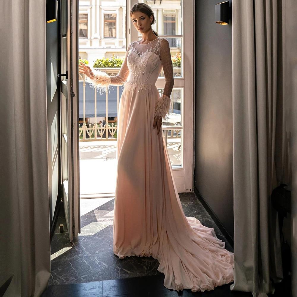 Elegant Floor-Length Prom Dresses O Neck Long Sleeve Feather Beading Formal Evening Party Gowns A Line Vestido De Fiesta недорого