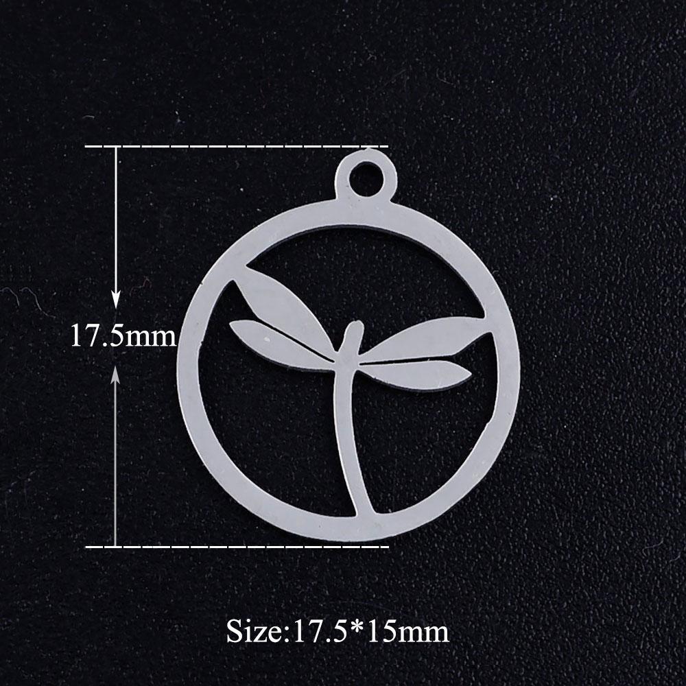 5 unids/lote redondo libélula Acero inoxidable joyería colgante DIY dijes al por mayor collar hacer encanto pulsera hacer encanto