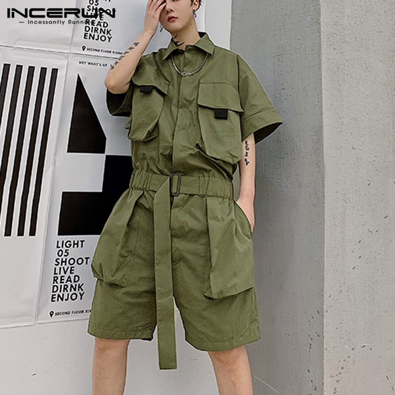 2021 männer Cargo Overalls Streetwear Multi Taschen Kurzarm Einfarbig Overall Mode Chic Lose Männer Strampler Shorts INCERUN