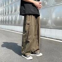 qweek hippie streetwear green cargo pants women korean fashion vintage wide leg trousers for female oversize hip hop 90s joggers