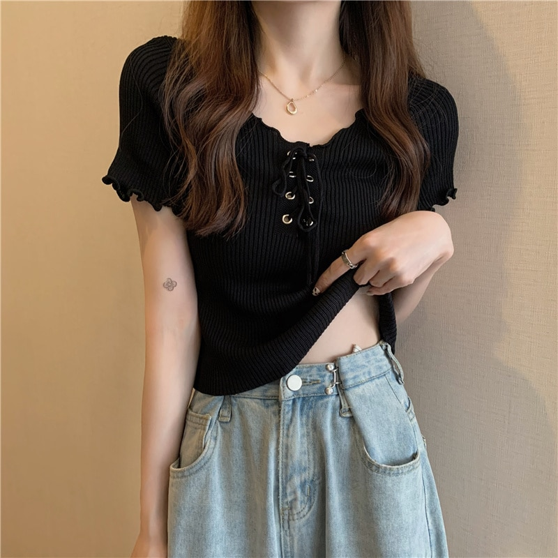Summer 2021 New Korean Style Lace-up Versatile Students Slimming Knitwear Short Top T-shirt with Sho