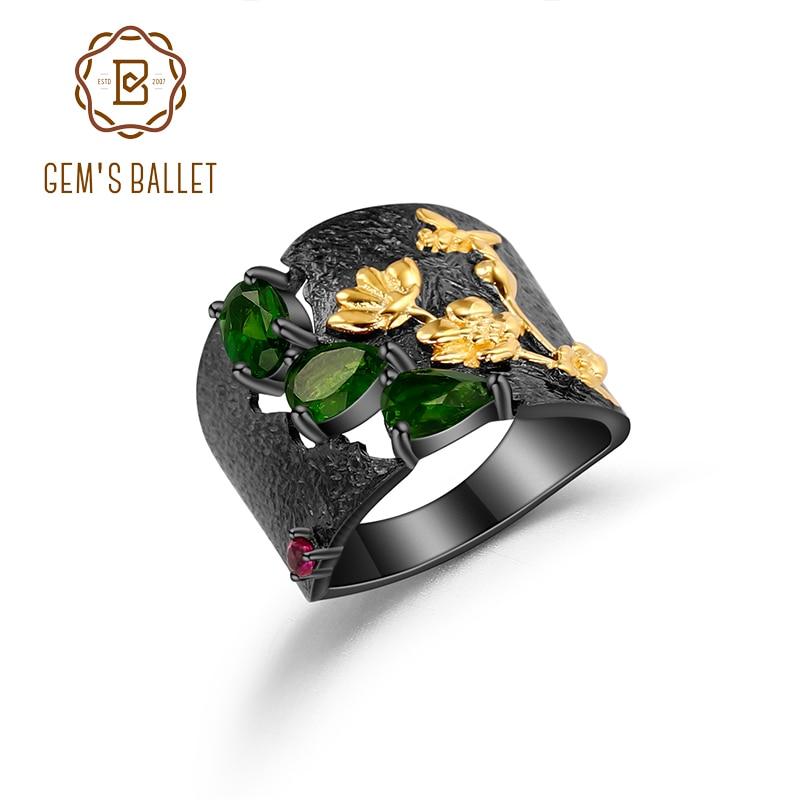 GEMS BALLET 925 plata esterlina hecha a mano Humming abeja flor jardín floral anillo de banda cromo natural Diopside anillos para las mujeres