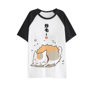 New Natsume Yuujinchou Cosplay T-shirt Fashion Cat teather Anime men T Shirt cotton Short Sleeve Tops Tee