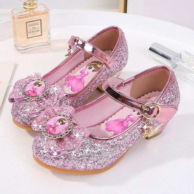 فتاة الأميرة عيد فتاة صغيرة الكريستال أحذية اللباس أحذية تظهر عيد الميلاد هدايا الأطفال عالية الكعب أحذية