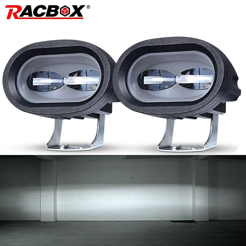 6D 20W LED luz de trabajo Universal motocicleta todoterreno lámpara de punto auxiliar de conducción Luz de niebla para coche camión moto faro punto