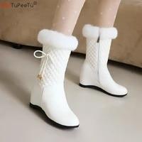 lolita ankel boots girls winter warm fur argyle snow boots pu white black sweet cosplay princess wedding party elevator shoes