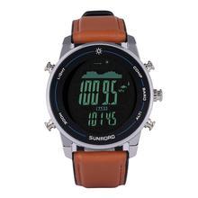 Digital men watch for sports fishing altimeter compass barometer 100m waterproof stainless steel lea
