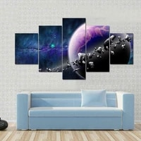 asteroids in planet space 5 panels canvas wall art painting home decor cuadros no framed