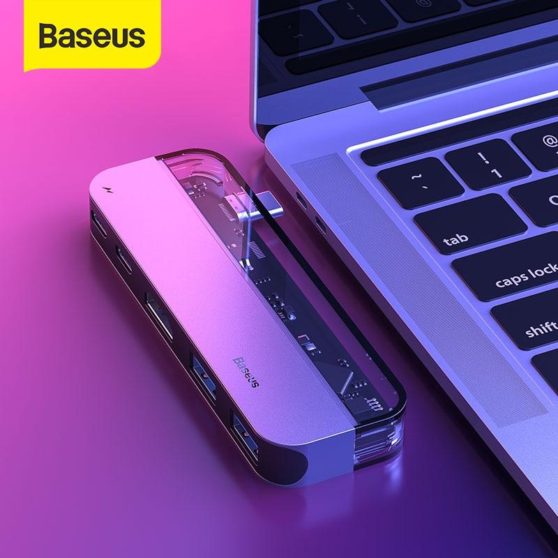 Baseus USB C HUB Multi HDMI USB HUB USB 3,0 para MacBook accesorios adaptador Pro Thunderbolt 3 SD lector de tarjeta USB tipo C HUB