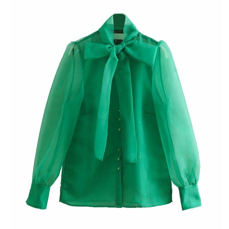 Blusas tipo camisa para mujer, con cuello de lazo, verde organza transparente, manga larga, botones, tops chemise