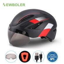 Newboler Volwassen 57 ~ 66Cm Fietshelm Met Led Achterlicht Magnetische Goggles Usb Oplaadbare Fiets Helm Mtb Road fietshelm