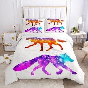 Комплекты постельного белья с 3D красочными животными, белые пододеяльники, наволочки, подушки, чехол s Wolf, комплект пододеяльников, покрывал...