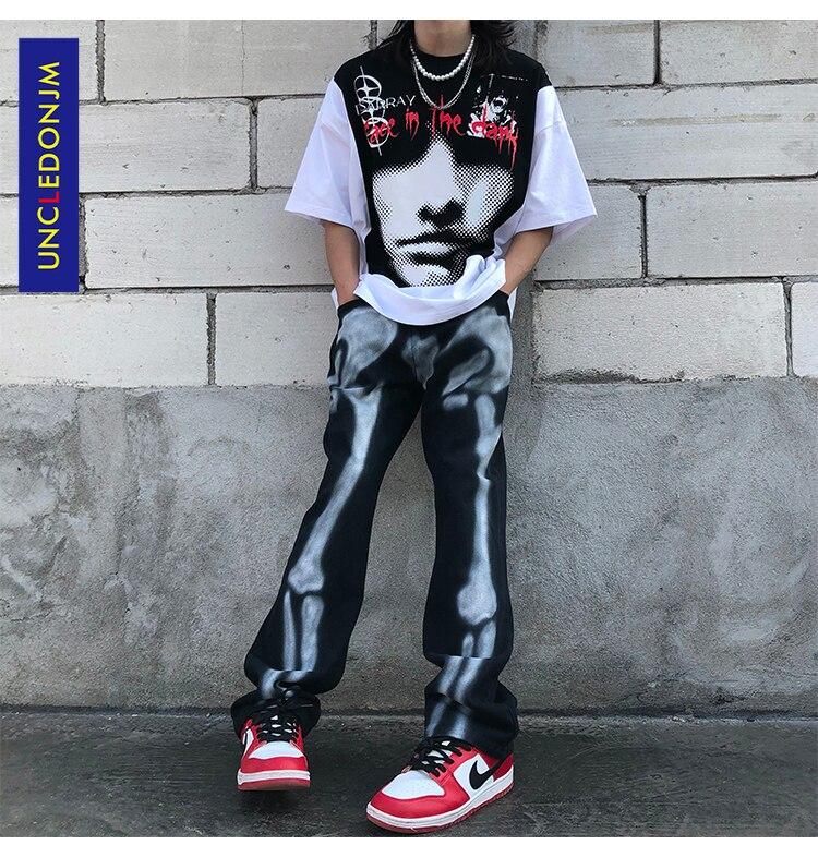 Брюки UNCLEDONJM для мужчин и женщин, дизайнерская одежда, уличная одежда с граффити, мужские джинсовые брюки, джинсы со скелетом, джинсы в стиле ...