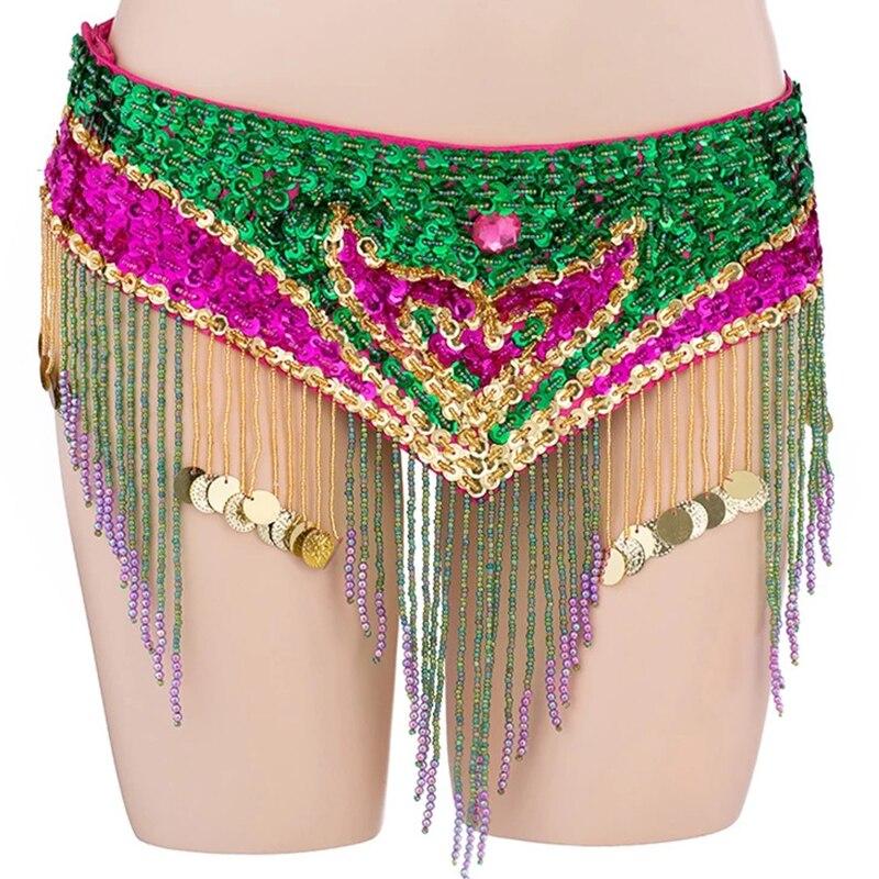 حزام مناسب للرقص الشرقي, حزام احترافي للرقص الشرقي قابل للتعديل بحزام مع خرز ملون ترتر للرقص الشرقي