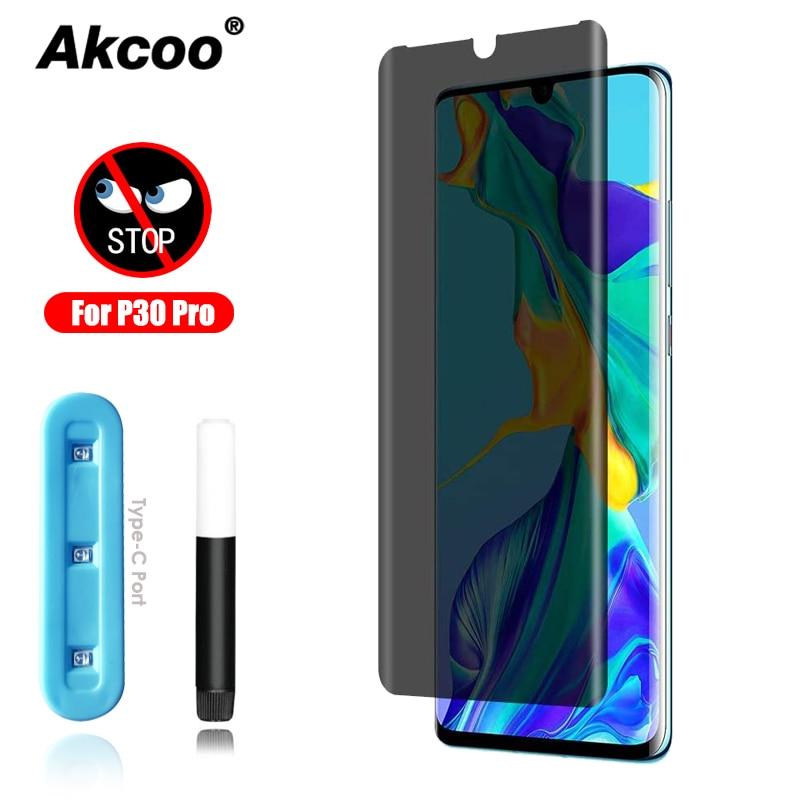 Защитная пленка Akcoo P30 Pro для Huawei P30 pro, пленка из закаленного стекла с защитой от шпионов, ультрафиолетовое стекло на клеевой основе с чувствительным касанием