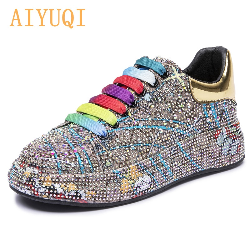 AIYUQI Sneakers Women's Big Size 2021 New Color Rhinestone Fashion Women Loafers Platform Fashion Sh