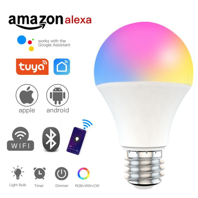 B22/e27 wi fi inteligente lâmpada escurecimento lâmpada 9w rgb inteligente controle de voz bulbo trabalho com alexa casa do google tuya casa inteligente