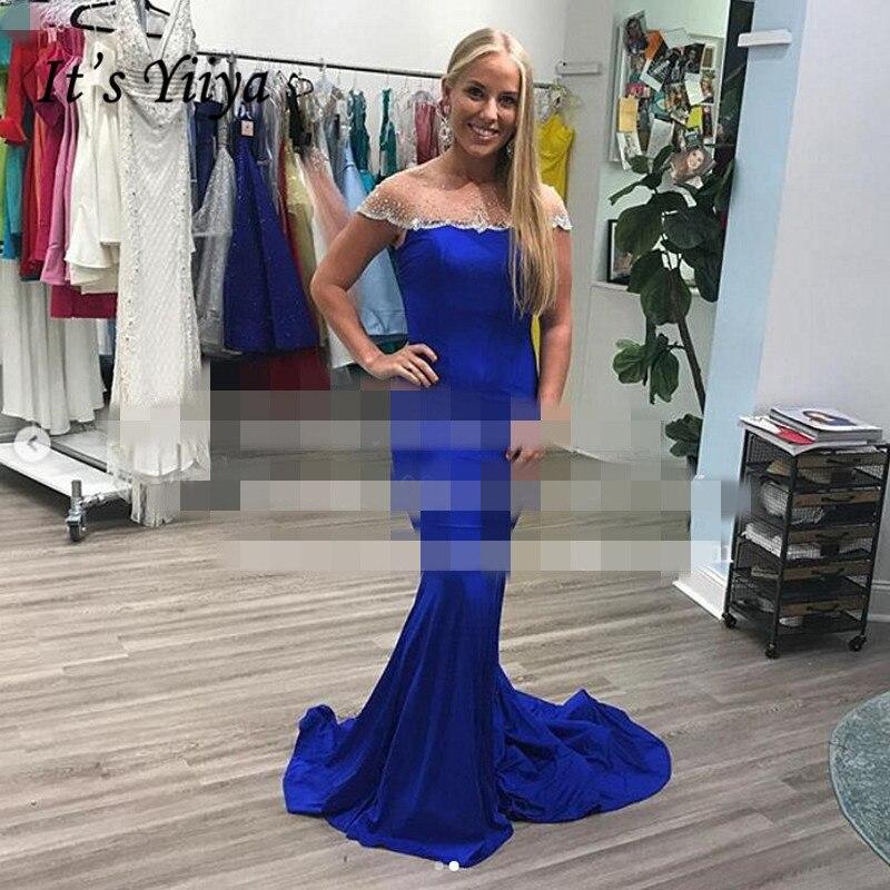 Señora win vestido de noche Vestidos de Noche azules reales de hombro elegante tren Formal vestidos sirena largo traje de noche HR415
