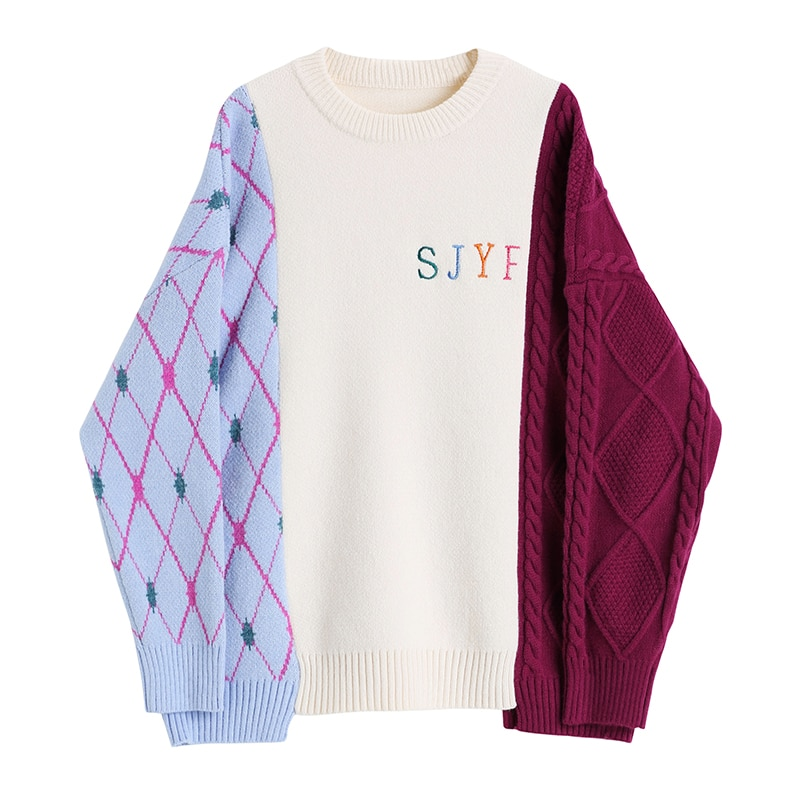 Knitting Sweater Oversized Spliced korean style Loose Fit Long Sleeve Women Pullovers Round Neck New