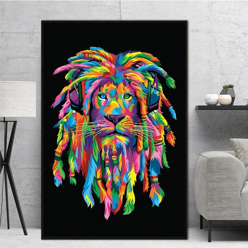 Pintura en lienzo de animales coloridos, arte de pared de Leones Pop, póster de Quadro, impresiones de pared, pintura de moda, decoración de pared, arte para sala de estar