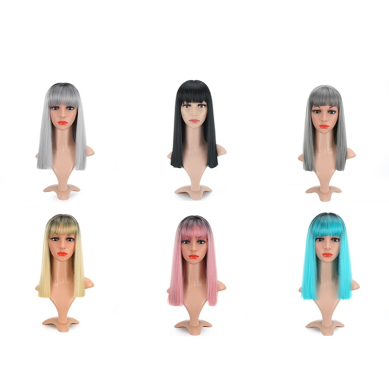 Short Bob Straight Wig With Air Bangs Short Bob Synthetic Heat Resistant Fiber Colorful Ombre Costume Wigs Cosplay Wig 16 Inch