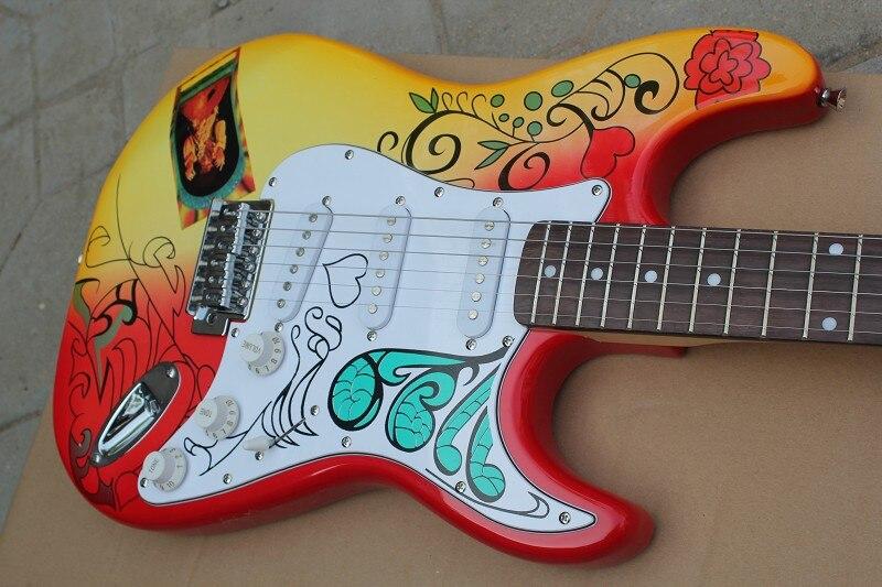 Tienda de fábrica cherry sunburst flores body diapasón de palisandro ST signature 6 cuerdas Guitarra eléctrica Guitarra