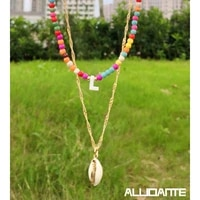 2 pieces 26 a z initial letter rainbow color beaded necklaces for women natural shell pendant collar necklaces bohemian jewelry
