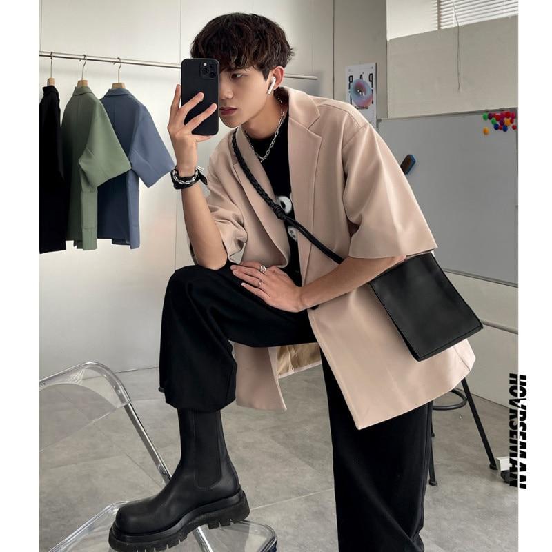 Summer Short-sleeved Blazer Men's Fashion Solid Color Business Casual Dress Jacket Men Korean Style Loose Suit Jacket Mens M-4XL