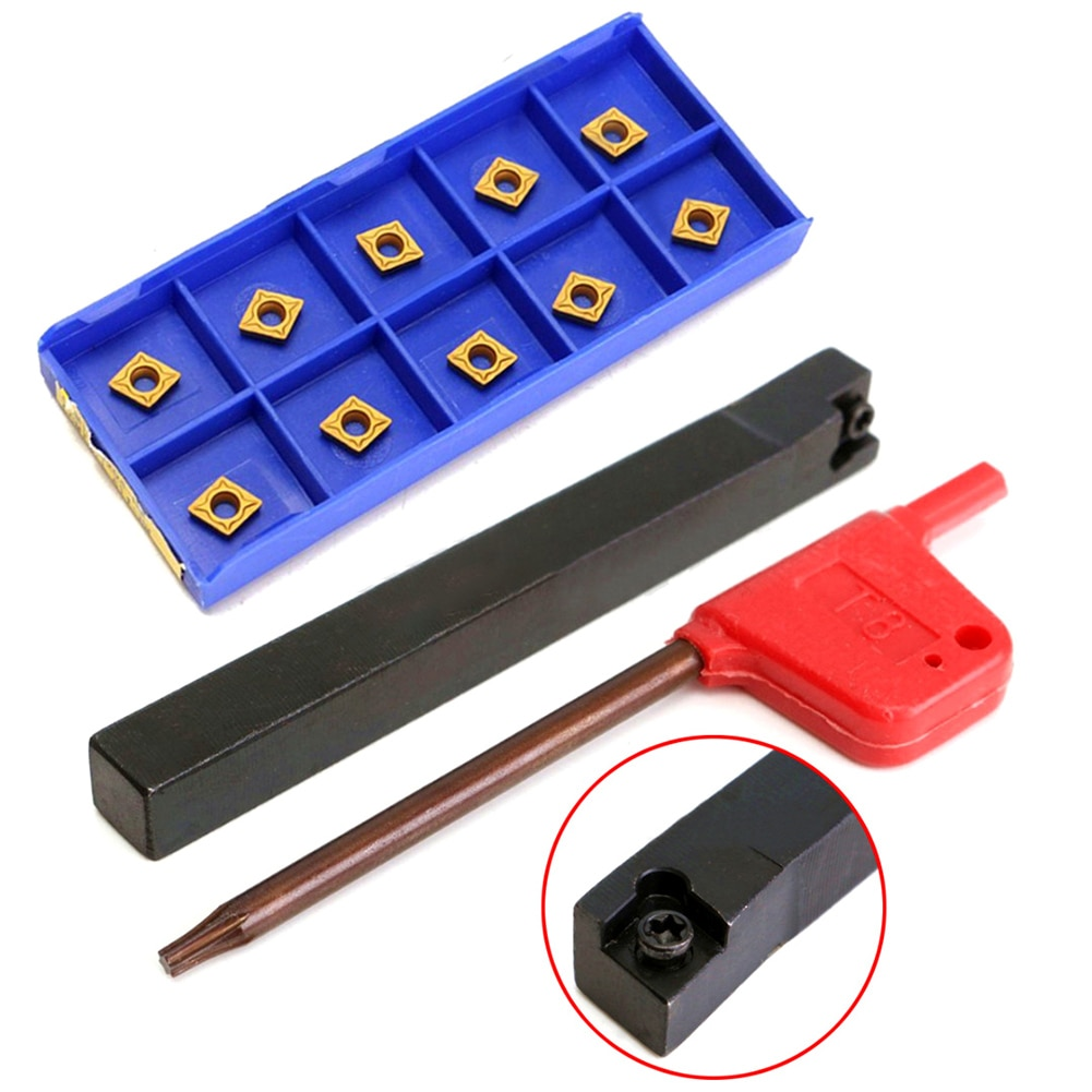 10pcs/set High Strength CCMT060204-HM Carbide Inserts 1pcs SCLCR0808F06 Lathe Turning Tool Holder 80mm Boring Bar with Wrench