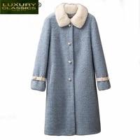 female coat real fur natural mink fur collar sheep shearing jacket women clothes 2021 korean vintage 100 wool tops y098