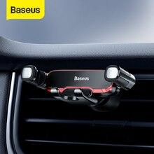 Автомобильный держатель для телефона Baseus с креплением на решетку вентиляции, держатель для сотового телефона, подставка для iPhone Samsung, металлический гравитационный держатель для телефона