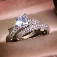 inlaid crystal zircon ladies ring exquisite fashion charm ladies wedding banquet jewelry accessories 2 piecesset