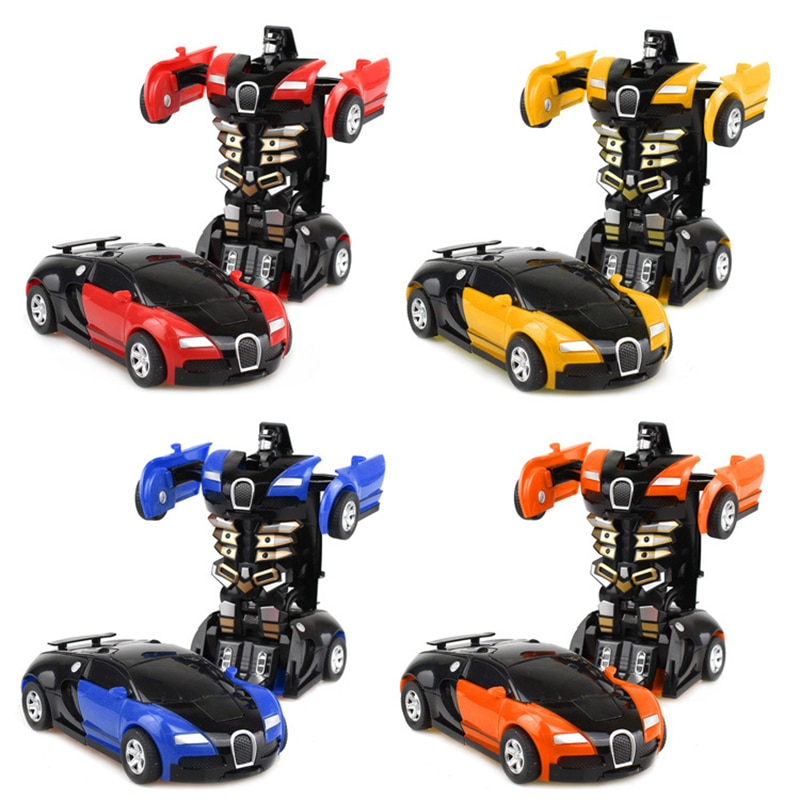 One-key Deformation Car Toys Automatic Transform Robot Plastic Model Funny For Boys Amazing Gifts Kid Toy
