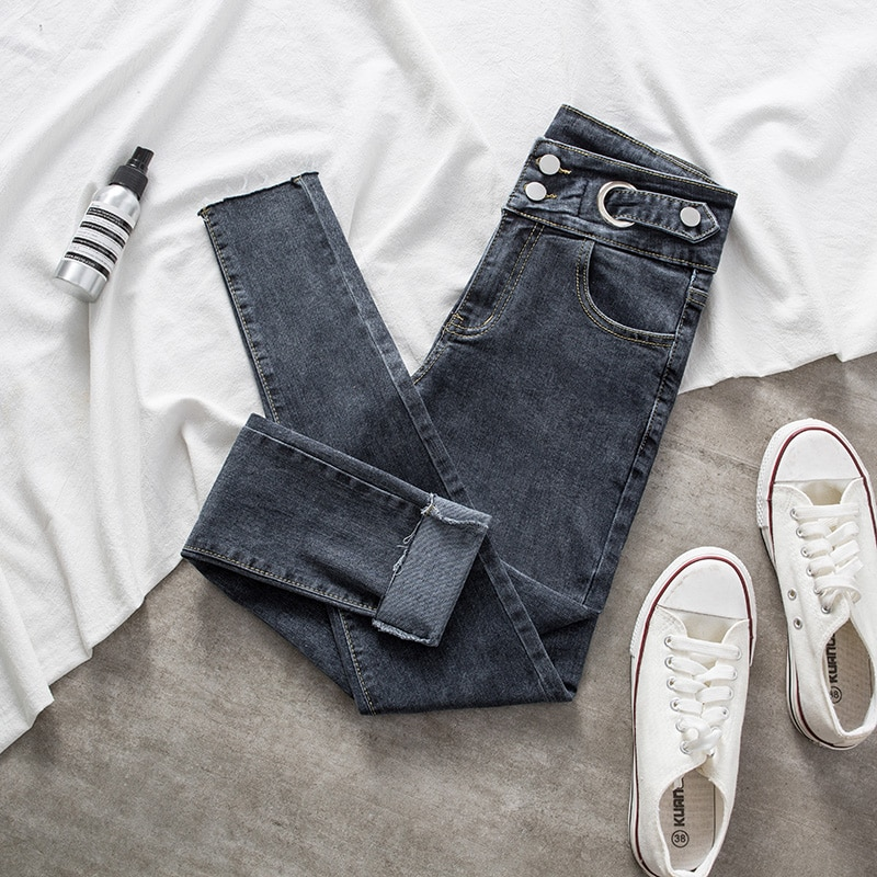Spring Denim Jeans For Women Stretch Pencil Skinny Ankle-length Elastic Female Trousers Pants Lady Fashion Slim Casual Jeans women s casual loose denim overalls lady s strap harem jeans pocket ankle length pants for woman