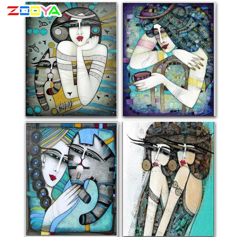 Zooya diamante bordado diy pintura diamante arte abstrata mulher & gato pintura diamante ponto cruz strass decoração cj522