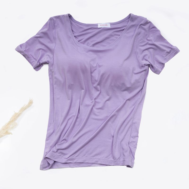 Women Chest Padded T Shirts Women Basic Tee Tops Casual Breathable O-Neck Short Sleeve T-shirt navy basic knit round neck t shirts