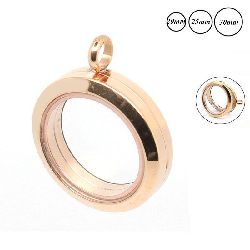 Medallón flotante magnético plano de oro rosa redondo 316L medallón de cristal memoria flotante de acero inoxidable colgante para collar de mujer
