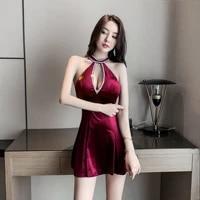 nightclub womens temperament low cut sexy dress sequins office lady polyester sheath sleeveless knee length
