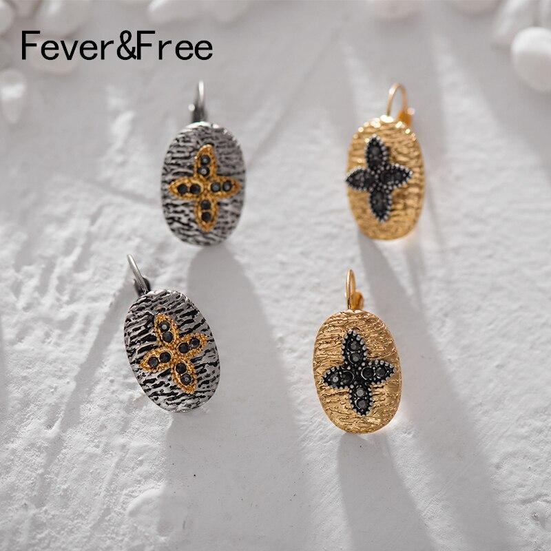 Fever&Free 2019 Vintage Geometric Charm Dangle Earrings Gold Black Cross Leaves Women Big Earrings Wedding Boucle D'oreille Gift