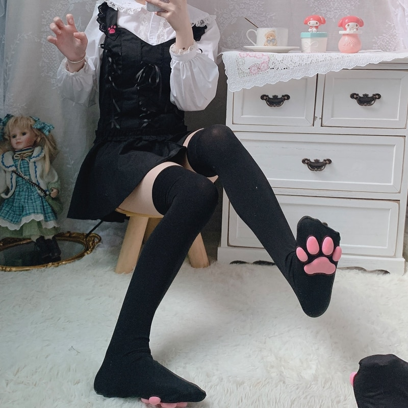 Over Knee Kawaii 3d Cat Pad Kitten Paw Socks Girl Lolita Cosplay Velvet Leggings Overknee Thigh High Long Stockings 60cm