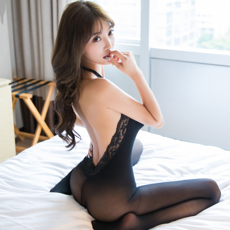 Open Crotch Party Lady Bodysuit Sexy Hollow Out See Through Pantyhose for Women High Elastic Thin Se